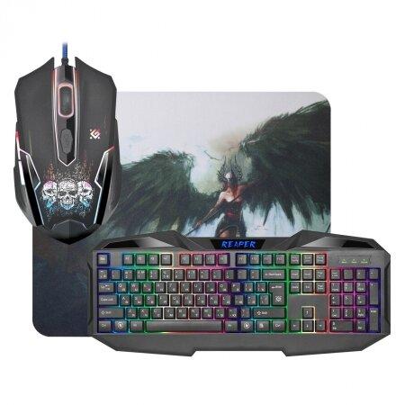 Игровой комплект Defender Reaper MKP-018 RU, клавиатура+мышь+коврик, USB (52018)