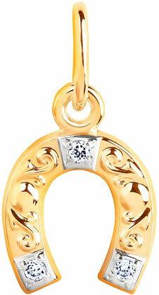 Золотой кулон SOKOLOV 033097_s c фианитом