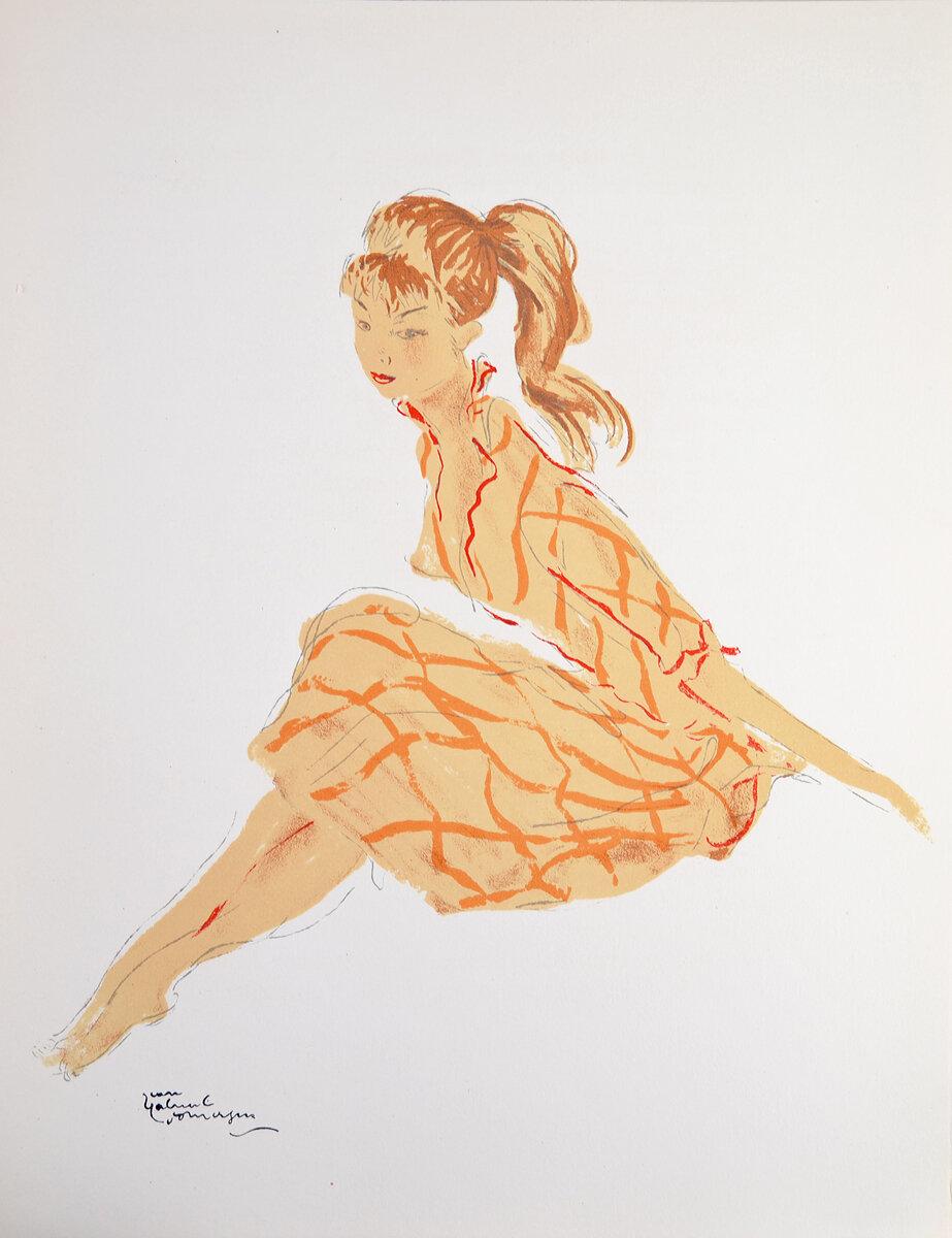 Гравюра Кати. Цветная литография. Жан-Габриэль Домерг. Серия