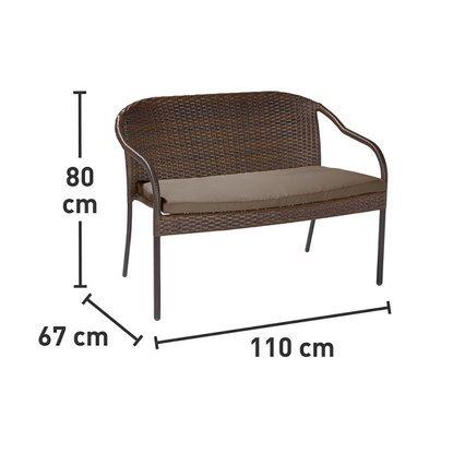 Диван плетеный CMI на металлическом каркасе 110х80х67 см
