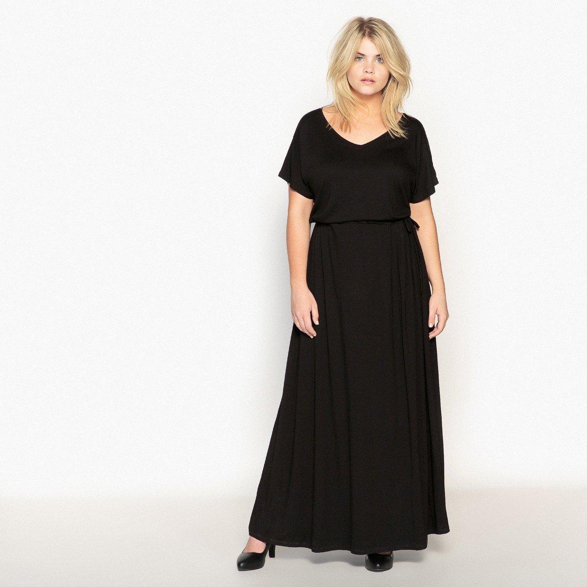 Платье La Redoute Длинное с завязками на поясе 50 (FR) - 56 (RUS) черный