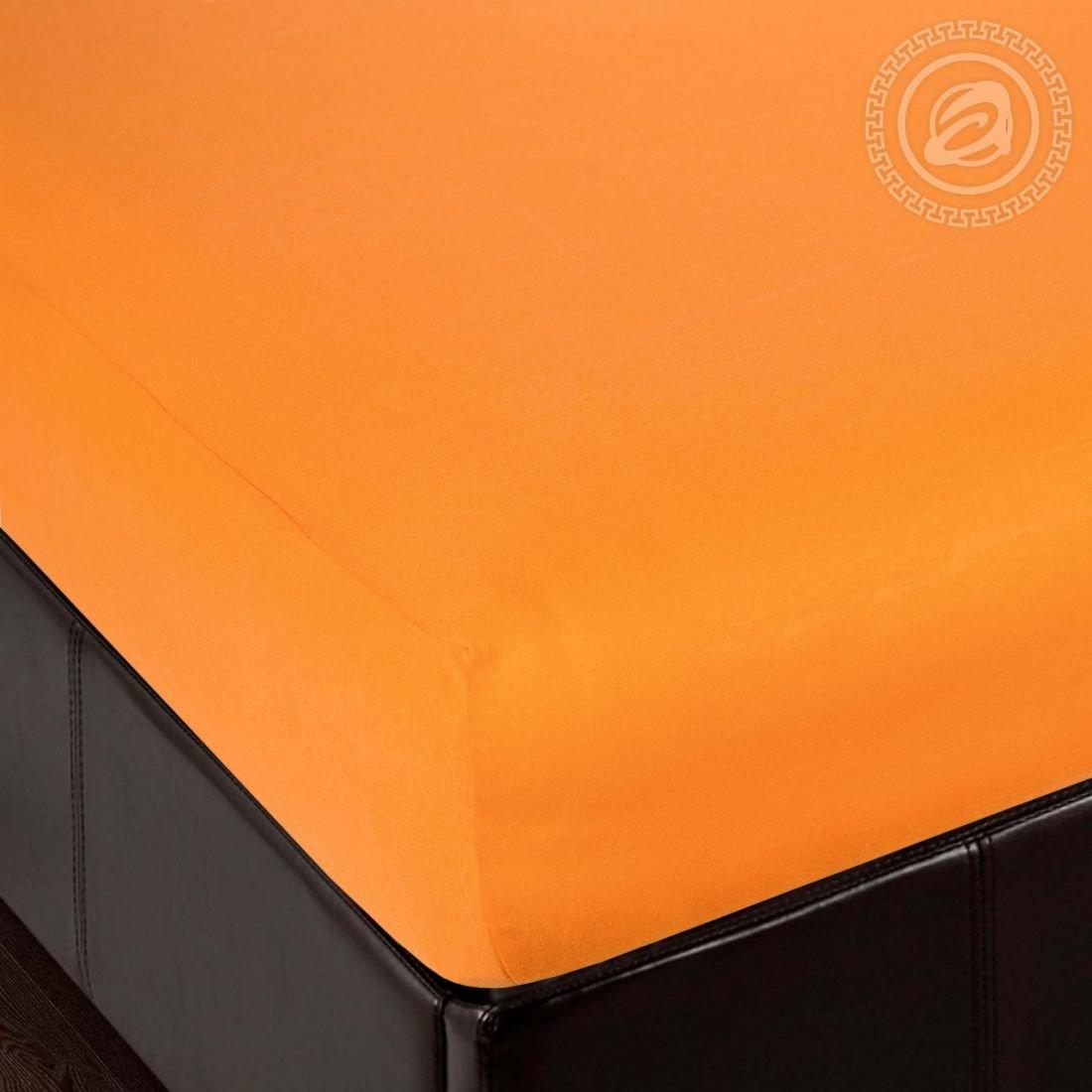 Простынь апельсин - простынь на резинке, размер 120х200, ткань трикотаж, Артпостель