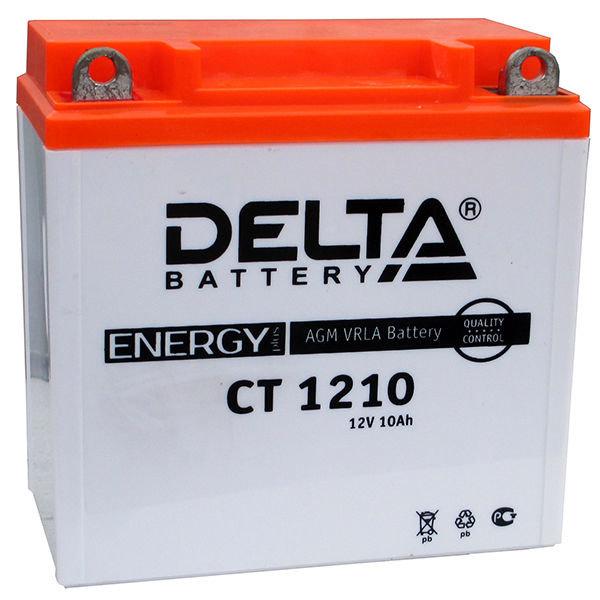 Аккумулятор мотоциклетный Delta CT 1210 YB9A-A, 12N9-4B-1, YB9-B 12V 10Ah AGM(залит и готов к применению)