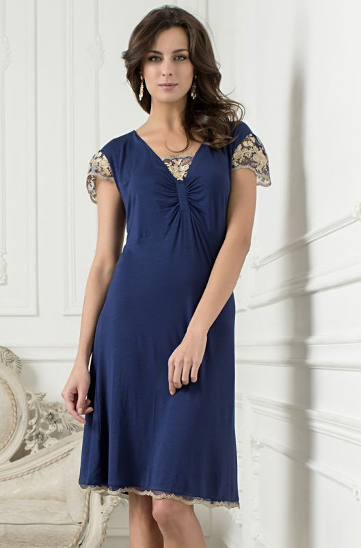 Сорочка ночная удлиненная ультрамарин с кружевом