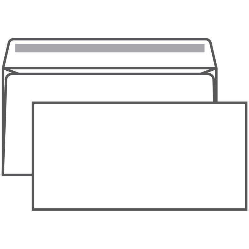 Конверт Ряжскгознак E65 белый с клеевым краем, 110*220 мм, 1000 шт/уп