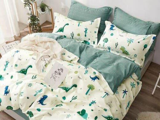 Детское постельное бельё Sweet Dreams Dino Park (на резинке + молния) для матраса 80x180 см, Сатин - 100% хлопок (115 г/м²)