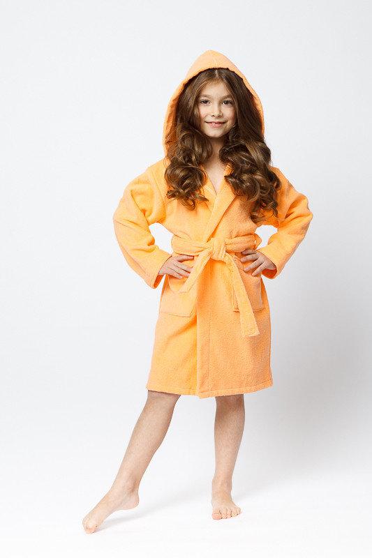 Детский махровый халат персикового цвета для девочки