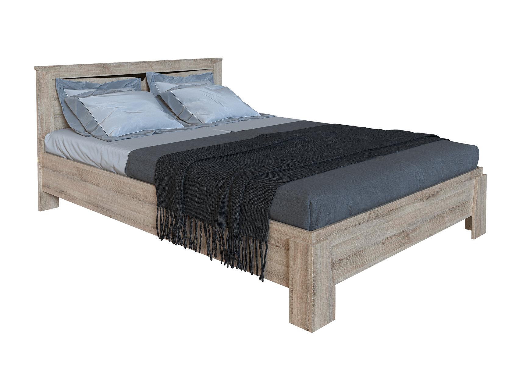 Двуспальная кровать СБК Кровать Гарда NEW Светлое дерево ,160х200 см, С основанием, Без подъемного механизма