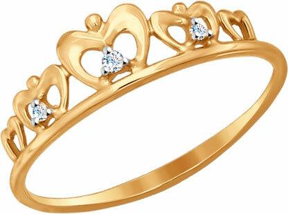 Золотое кольцо корона SOKOLOV 017148_s с фианитами, размер 17,5 мм
