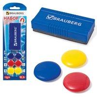 Набор для магнитно-маркерной доски BRAUBERG магнитный стиратель, магниты 3 см, 6 шт/уп