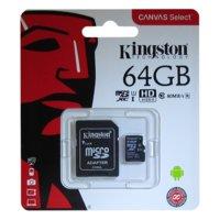 Карта памяти MicroSD 64GB Kingston Class 10 Canvas Select UHS-I U1 (80 Mb/s) + SD адаптер Kingston SDCS/64GB