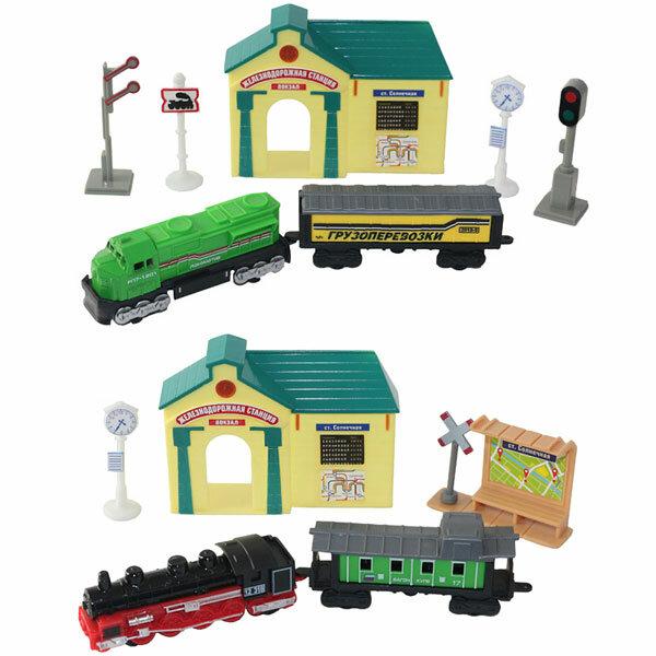 Наборы игрушечных железных дорог, локомотивы, вагоны ТМ Wincars Wincars 30518 Набор Железнодорожная станция: поезда и аксессуары