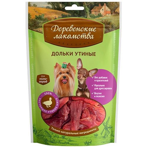 Лакомство для собак Деревенские лакомства мини пор.дольки утин, 60г