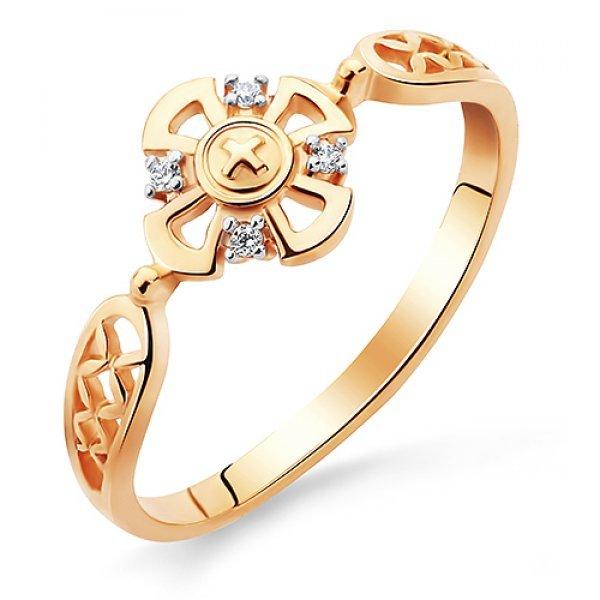 Кольцо православное золото 585 проба с фианитами арт АЛМ-05