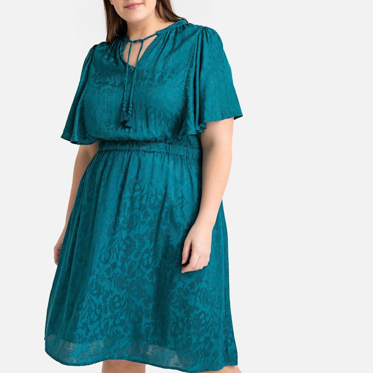 Платье La Redoute Прямое жаккардовое средней длины 42 (FR) - 48 (RUS) синий