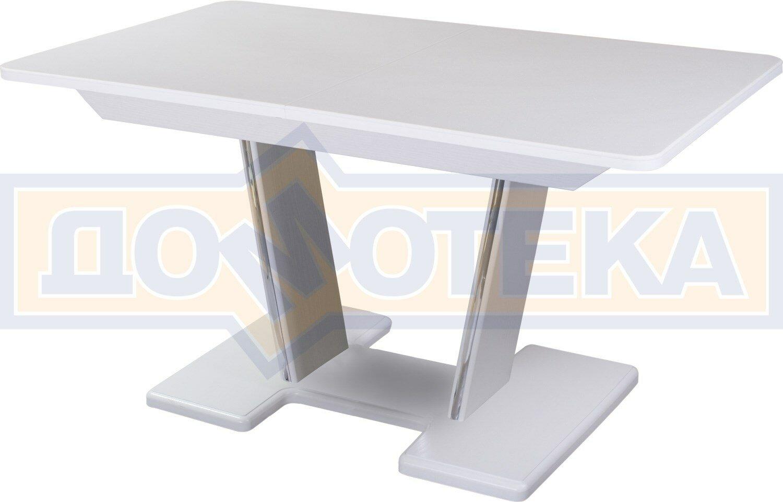 Домотека Обеденный стол с камнем Румба ПР-2 с центральной ножкой 04/БЛ 03-2 БЛ, белый/камень белого цвета