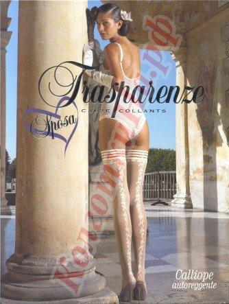 Чулки Trasparenze Calliope 4/L, Bianco (autoreggente, фантазийные, свадебные, для невесты)
