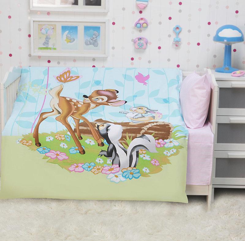 Постельное белье в кроватку, бязь Mona Liza бемби и друзья арт. 521132/2 (в комплекте простыня зеленая) Для новорожденных (до 3-х лет) (В кроватку)