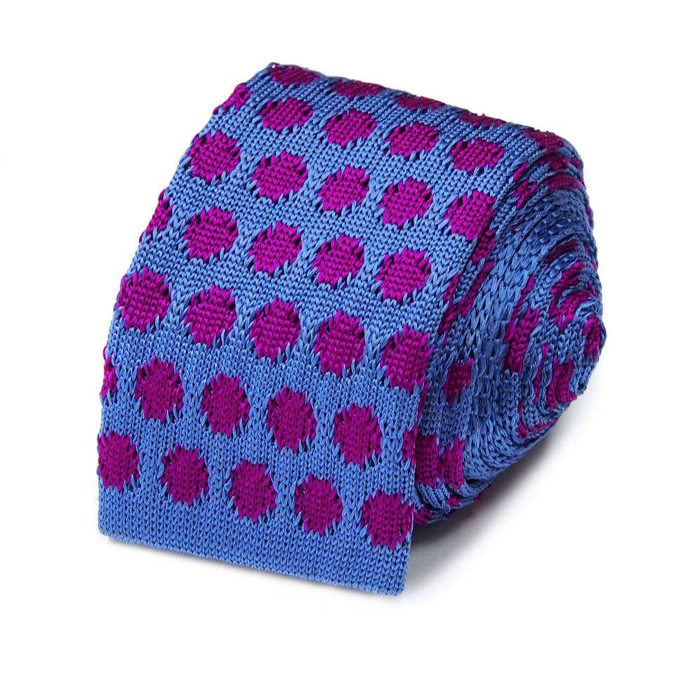 Синий галстук носок с фиолетовым горохом Maurizio Milano 827555