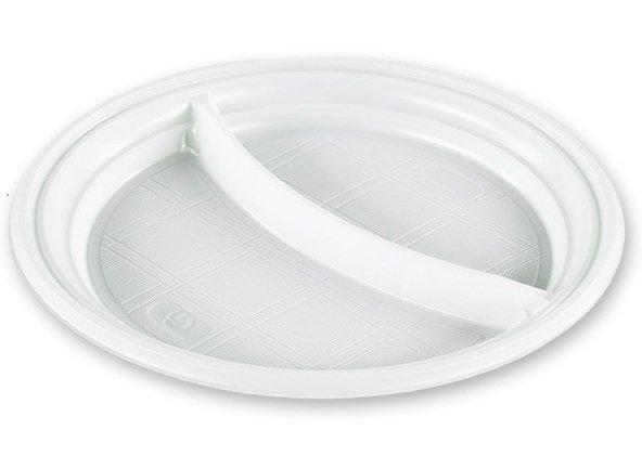 Тарелка одноразовая, диаметр 205 мм. (2-х секционная) (в упаковке 100 шт.)