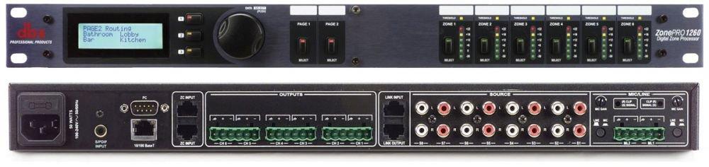 dbx 1260 аудио процессор для многозонных систем. 12 входов - 2 балансных мик/лин Phoenix, 8 RCA, S/PDIF, 6 балансных Phoenix выхода, управление - ЖК дисплей на лицевой паннели, GUI интерфейс - с компьютера 2 порта для подключения контроллеров ZC (до 12 шт