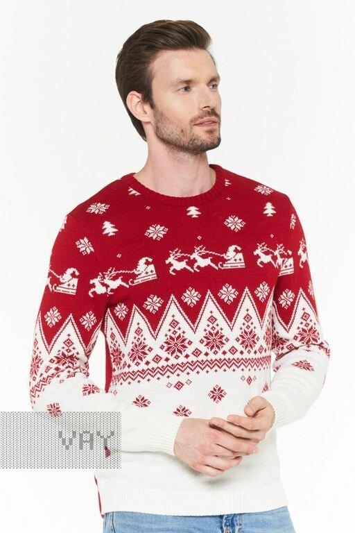 Мужской новогодний джемпер с оленями 182-12147 Family Look красный 46
