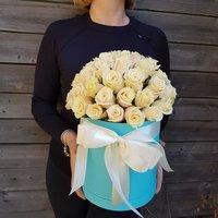 39 кремовых роз в коробке Тиффани