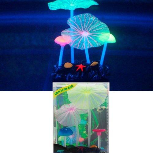 Декор для аквариумов JELLYFISH Микс из растений силикон (листья лотоса 2шт, грибы 2шт), 7х3,5х10см
