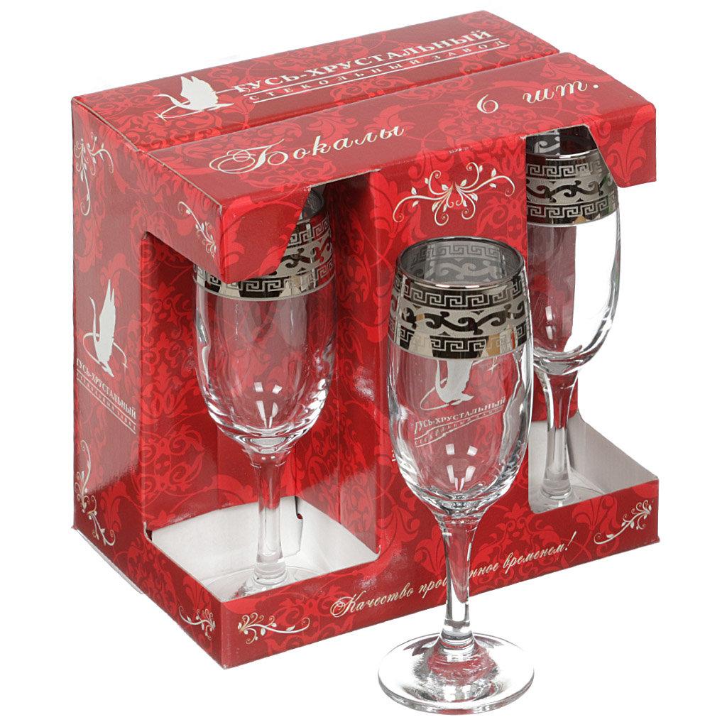 Бокал для шампанского Гусь-Хрустальный Стекольный завод Версаче GE08-419, 6 шт, 190 мл