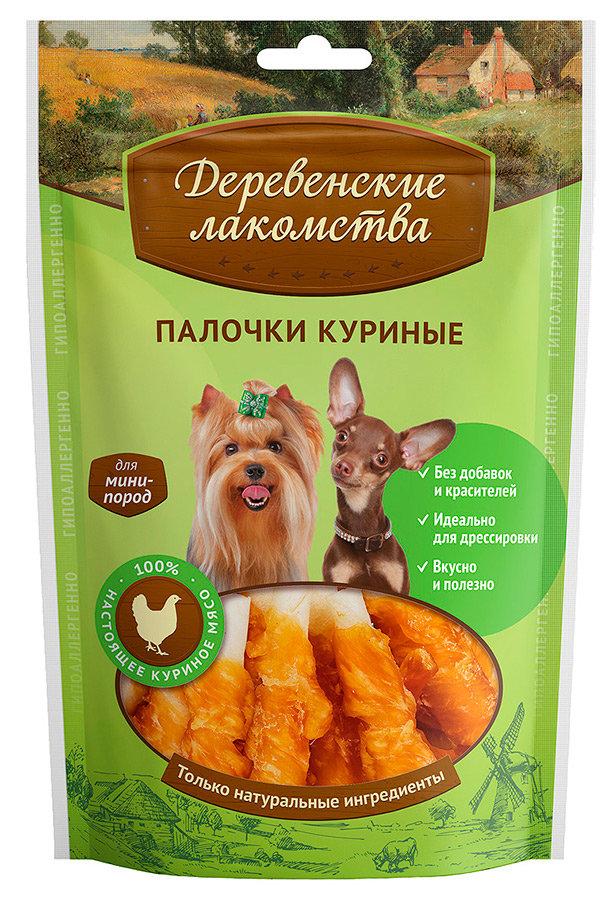 Лакомство для собак Деревенские лакомства для мини-пород куриные палочки 55г