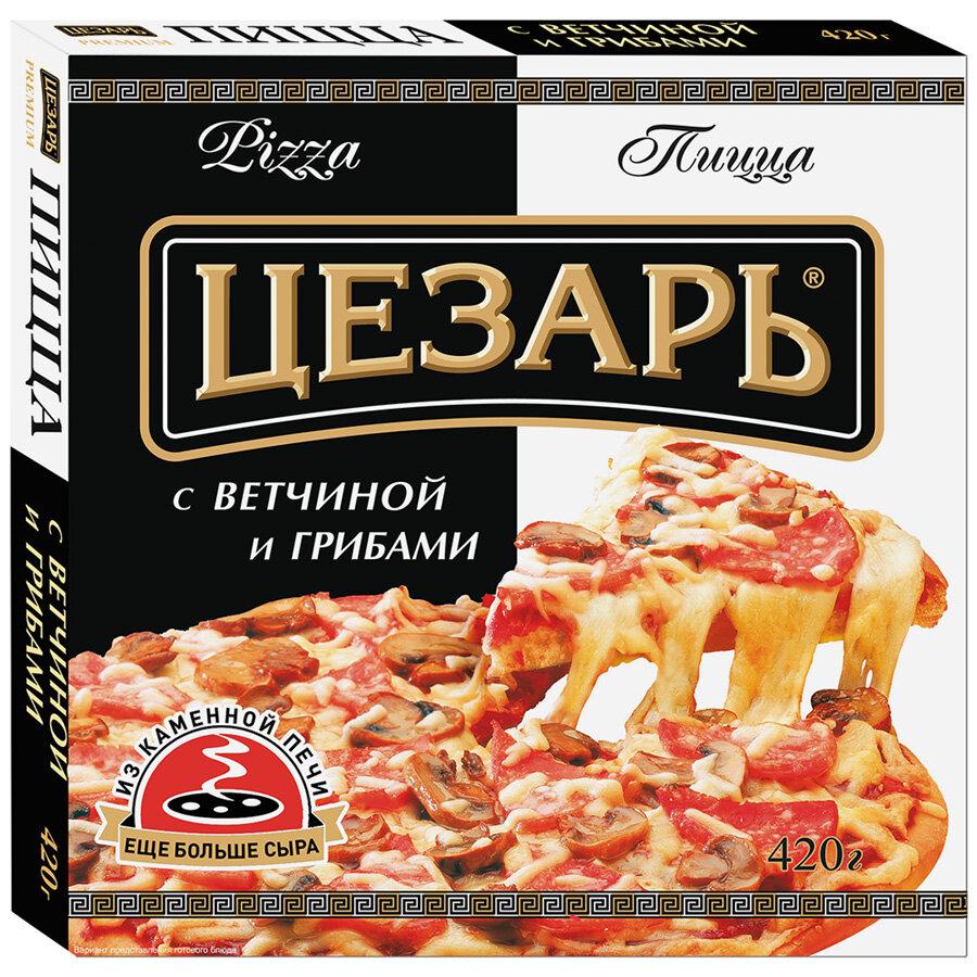 Пицца Цезарь грибы и ветчина, 420г