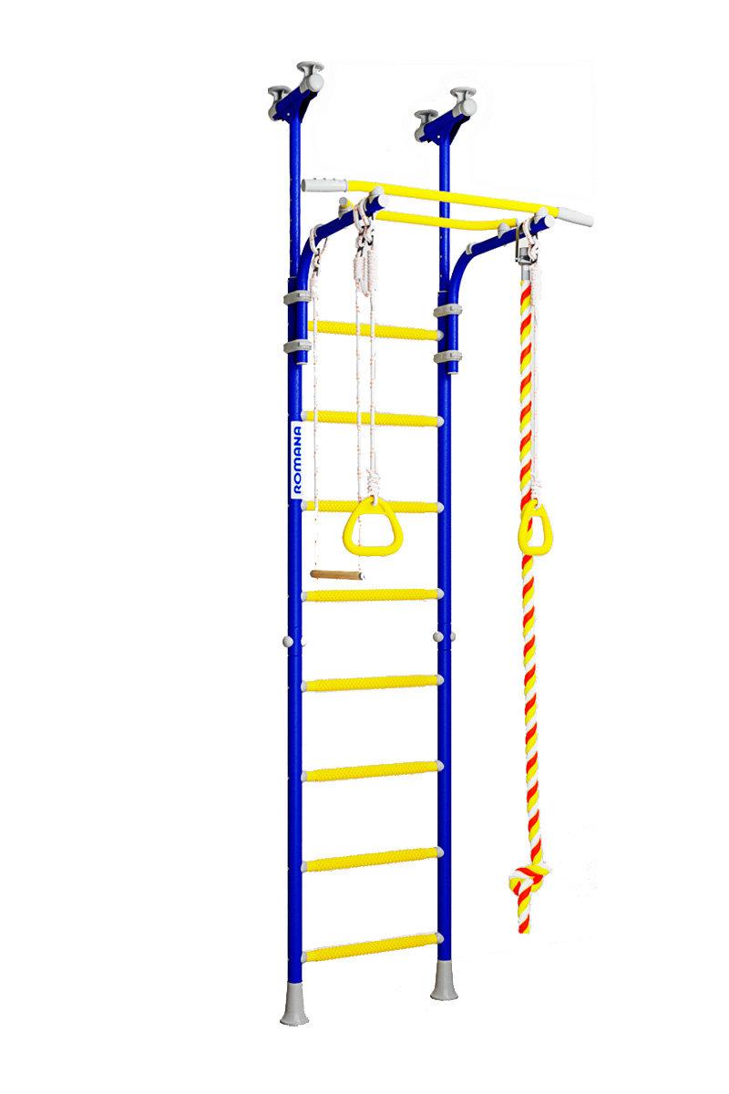 Прочные металлические фиксаторы; качели можно разместить на верхних боковых трубах комплекса; длина каната 2 м;.
