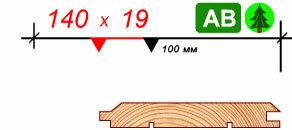 Имитация бруса 145 х 19 - сорт АВ - 6,0 метров