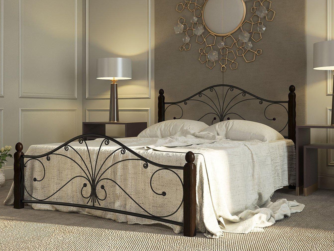 Двуспальная кровать ПМ: Форвард-мебель Сандра 140х200 / 160х200 Черный, 1600 Х 2000 мм