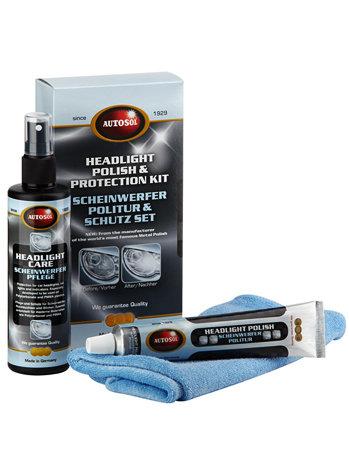 Набор для полировки и защиты пластиковых фар Autosol Headlight polish & Protectant (очиститель, защита, салфетка)