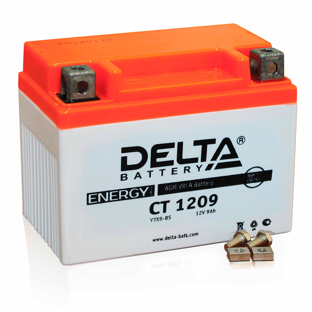 Аккумулятор для скутера, мотоцикла, квадроцикла DELTA CT1209 (YTX9-BS) DELTA-CT1209