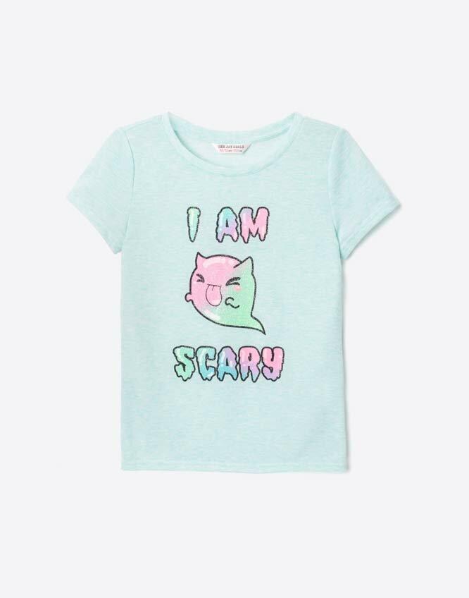 Мятная футболка с блестящим принтом для девочки Gloria Jeans