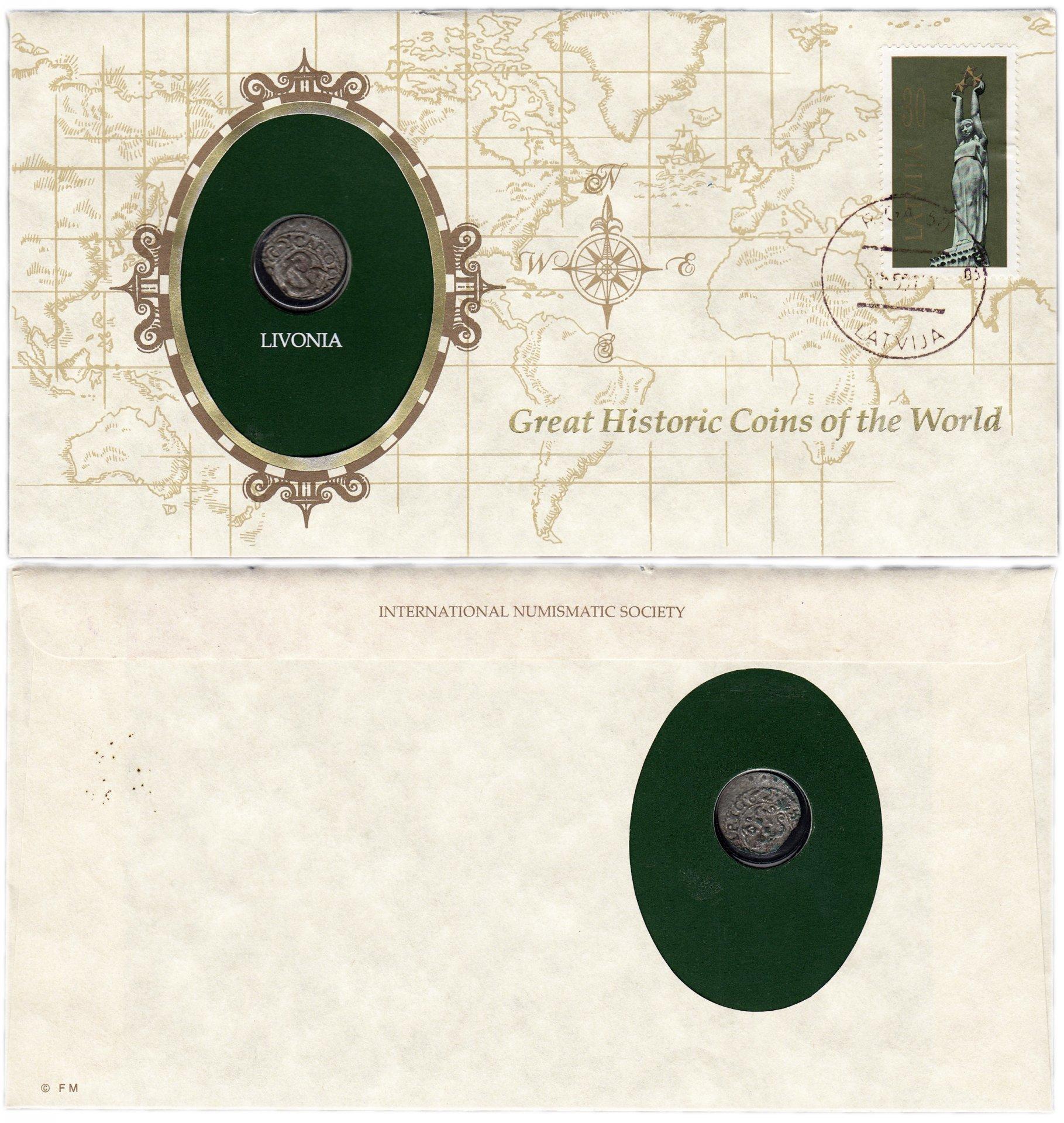 Серия «Великие исторические монеты мира» - Ливония 1 солидус ( шиллинг) 1665 ( Carl XI ) (монета и 1 марка в конверте) Нет в каталоге W007801