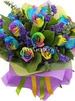 Букет из 15 радужных роз ВАН (S4027)