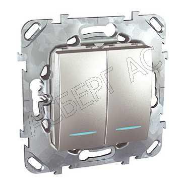 Выключатели, переключатели Переключатель двухклавишный (сх.6+6) с индикацией, аллюминий Schneider Electric