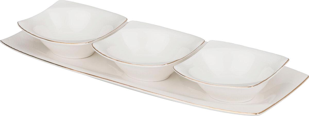 Салатники на блюде, набор 3 шт.: 13.5х34.5, высота 4 см (Предметы сервировки стола)