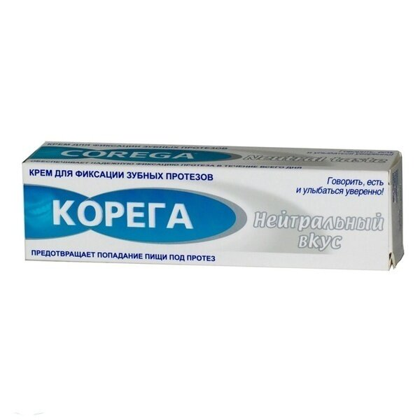 Корега крем для фиксации зубных протезов Нейтральный вкус 40г