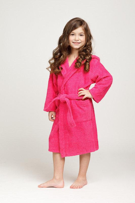 Малиновый махровый халатик с капюшоном для девочки