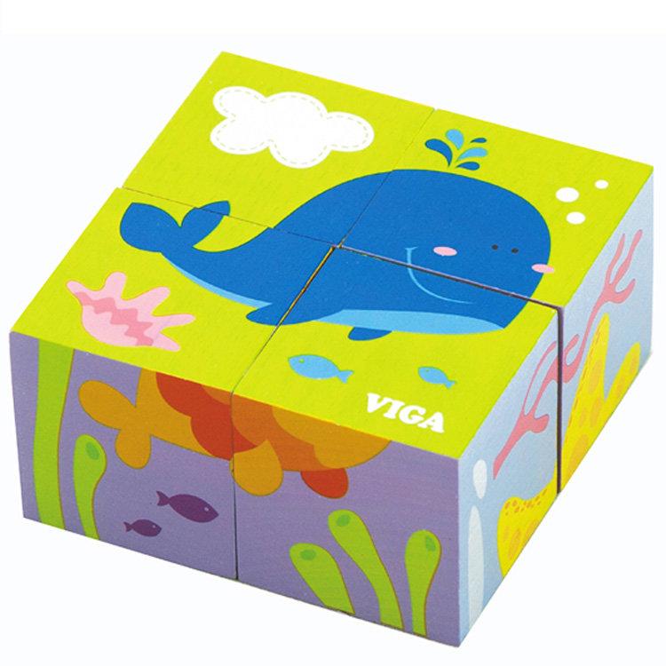 Кубики Viga Рыбки 4 шт.