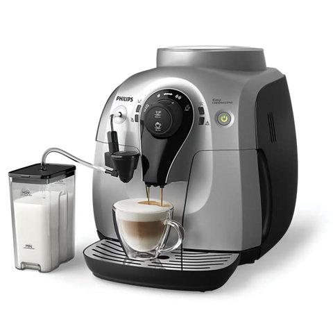 Кофемашина PHILIPS HD8654/59, 1 л, 1400 Вт, 15 бар, емкость для зерен 180 г, автокапучинатор, серебристо-черная (арт. 452710)