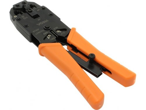 Инструмент для монтажа сетей и проводки VCOM клещи обжимные D1903, черные-оранжевые