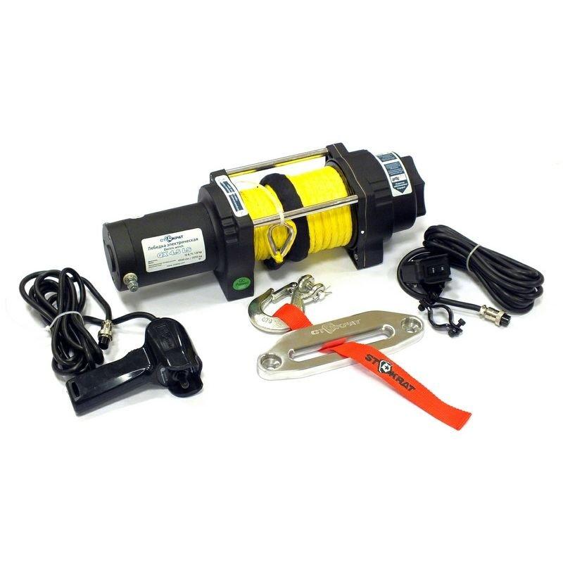 Лебедка электрическая ATV и SUV Стократ QX 4.5 SL, 12V, 1.8 h.p. с синтетическим тросом и удлинненным стальным барабаном.