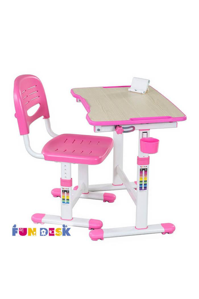 Детская парта растишка и стул FunDesk Piccolino II Pink
