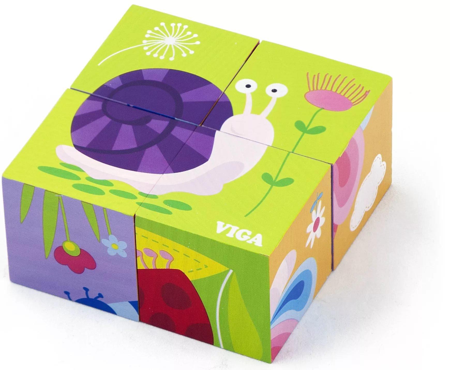 Кубики Viga Насекомые 4 шт.