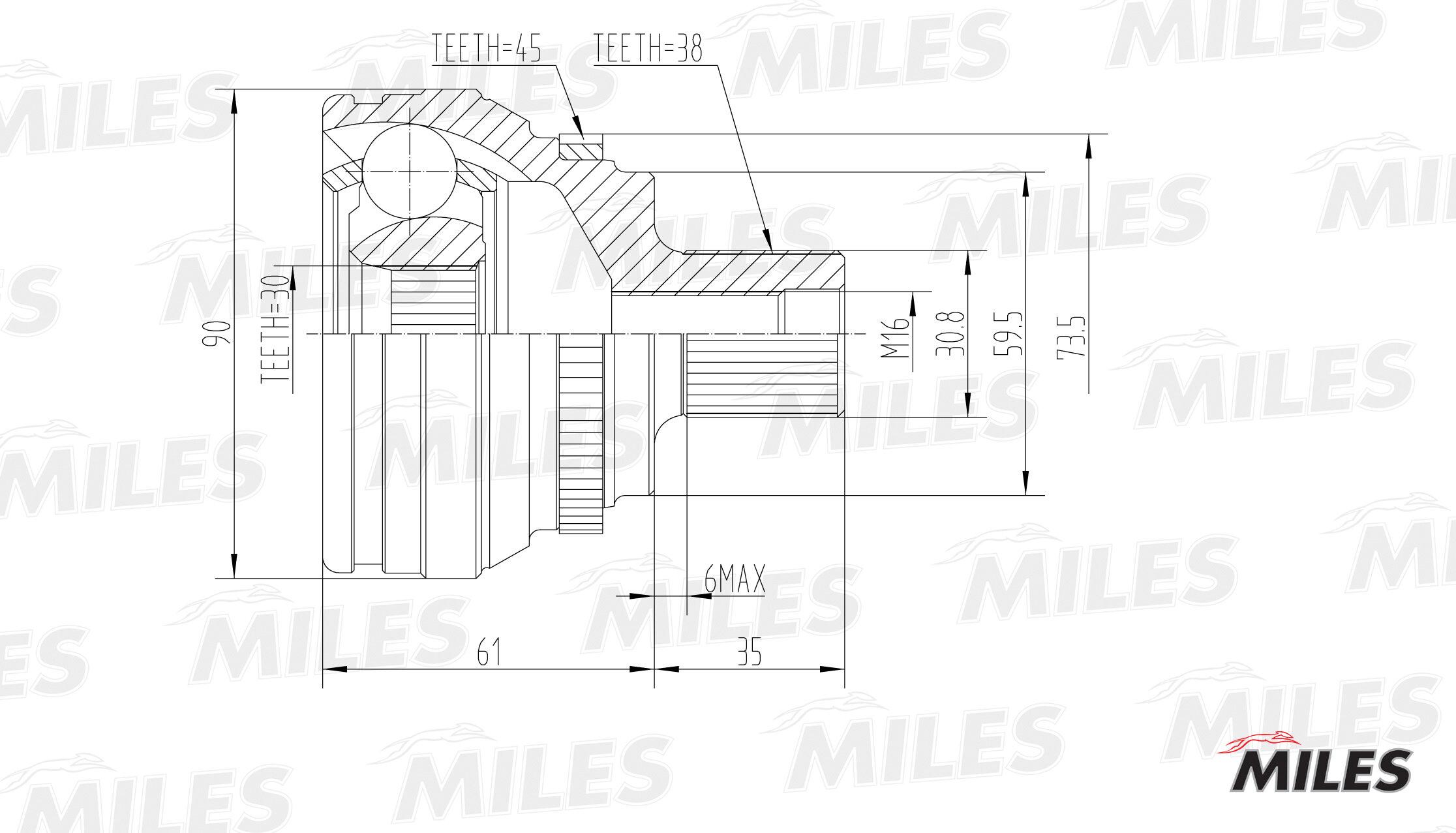 Шрус audi 100/80/a6/v8 2.5d-4.2 88-97 нар. Miles GA20007